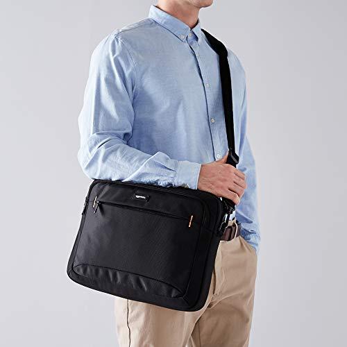 Amazon Basics - Maletín compacto para portátil con correa para el hombro y bolsillos para accesorios (14pulgadas, 35,6cm), negro, 1unidad