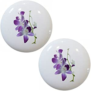 Set of 2 Orchids Purple Ceramic Cabinet Drawer Pull Knobs
