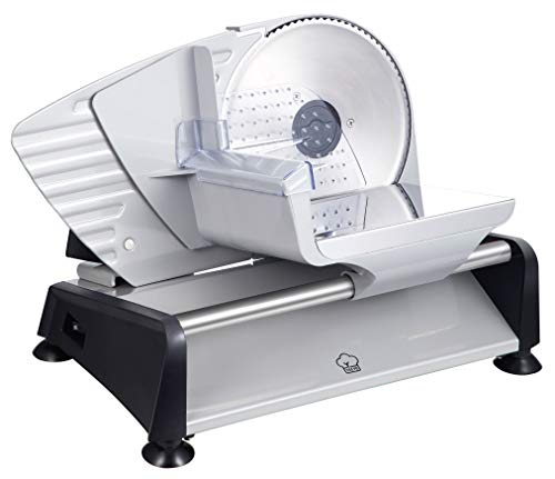 Yeeyo 200W 7.5' Electric Food Deli Meat Slicer and Cutter Machine for Home Use, w/ Removable Stainless Steel Blade, Adjustable Thickness Knob - Cuts Jerky, Salami, Bread, Fruits, Vegetables, Cheese