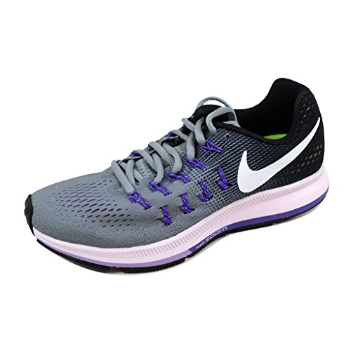 Nike Womens Zoom Pegasus 33 Stealth/White-Black-Firece Purple 6