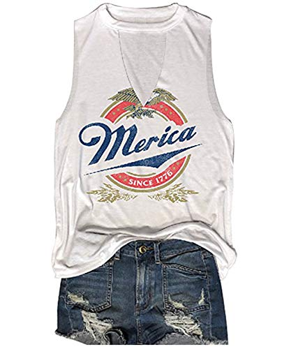 MK Shop Limited Women Merica Since 1776 Tank Sleeveless Racerback Tanktops Vest T-Shirt (White1, XL)