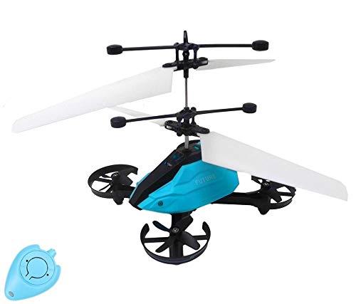 Future X RC Drohne Quadrocopter Hubschrauber mit Sensorsteuerung (Blau) Einfach zu Steuern per Handbewegung Gestiksteuerung Inklusive IR Fernbedienung Drone Helicopter Quadcopter Drohne für Kinder