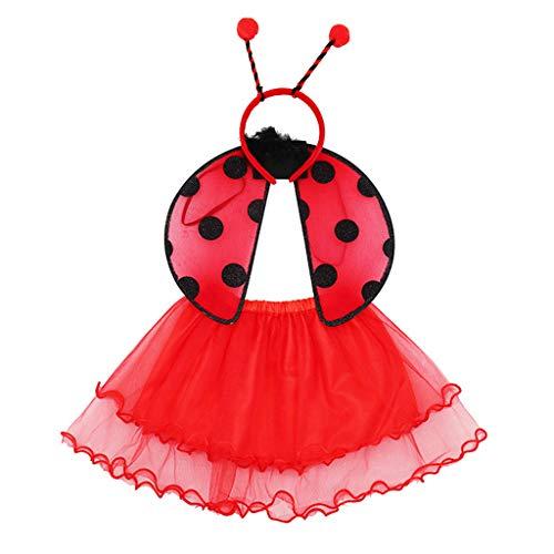 MYhose Falda de tut 3 Piezas Conjunto de Disfraz de Hada para nios, Falda de tut roja Mariquita Dot Wing Boppers Diadema Rojo + Negro