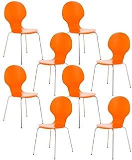 CLP Set De 8 Sillas De Comedor Apilable Diego I 8 Sillas De Conferencia con Asiento De Madera I 8 Sillas De Cocina con Base De Metal I Color:, Color:Naranja