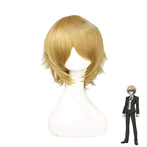 Danganronpa Togami Byakuya Cosplay Wigs Short Fluffy Layered Synthetic Hair Halloween Costume Party Wigs + Wig Cap