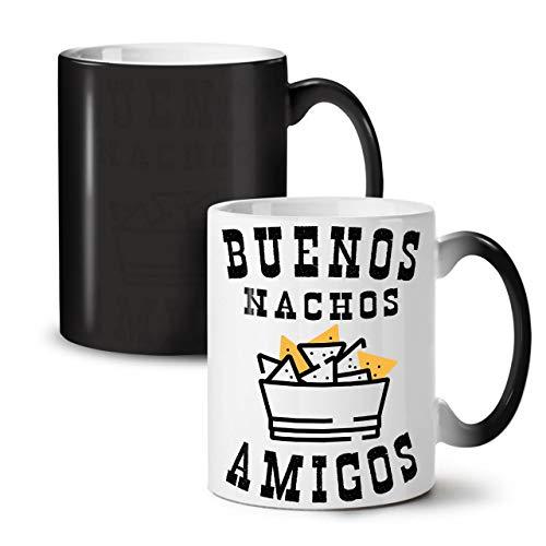 Wellcoda Buenos Nachos Amigos Farbwechselbecher, Mexiko Tasse - Großer, Easy-Grip-Griff, Wärmeaktiviert, Ideal für Kaffee- und Teetrinker