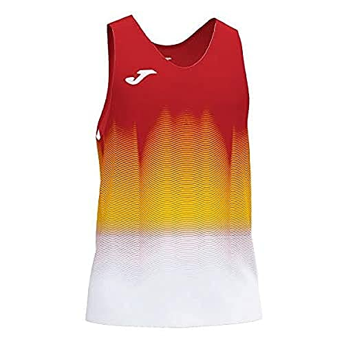 Joma Elite Camiseta Running sin Mangas, Hombres, Rojo-Blanco, XL