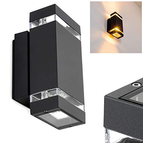Außen-Wandleuchte Edevik 2-flammig - Alu Wandlampe in Schwarz - stylische Fassadenlampe mit Up and Down Effekt - Wandlampe für die Terrasse - Veranda - Hof-Lampe Grau
