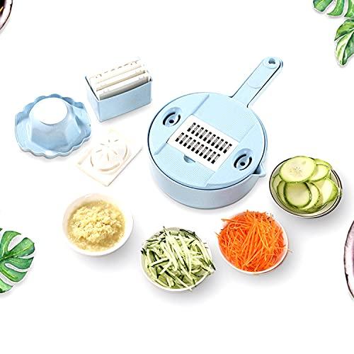 Tagliaverdure multifunzione 8 in 1, affettaverdure e verdure, tritatutto da cucina con inserti coltelli, guanto per grattugiare, può essere utilizzato come cestino per verdure (blu)
