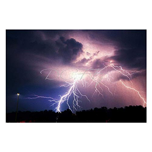 Scott397House Jigsaw Puzzles 1000 Pieces for Adults, Large Piece Puzzle Cool Lightening Bolt Storm Thunder WeatherFun Game Toys Birthday Gifts Fit Together