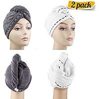 Paño de secado Turban de DHMAKER, toalla de microfibra para el cabello, gorra de secado rápido, pelo largo para niños, absorbente turbante Twist, Blanco + gris oscuro., 60*25cm