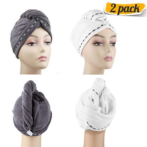 DHMAKER Wrap Turban Haartrockentuch, Schnelltrocknendes saugfähig Handtuch, Kopftuch Handtücher für die Haare, Haarpunzel Haar trocknendes Tuch, 2 pcs