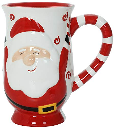 Red Santa Joy - Christmas Themed Ceramic Glossy 17 oz Mug With Large Handle (Microwave and Dishwasher Safe)