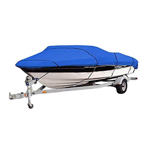InkFenm Cubierta del Barco, 420D Heavy Duty Cubierta Impermeable Barco Runabout, para Cualquier Estación Al Aire Libre Protección Adapta V-Hull, Tri-Hull Runabout Boat Cover,Azul,17/19FT(600 * 310CM)