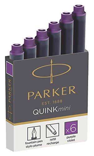 Parker Quink recambios para plumas estilográficas, cartuchos cortos, tinta morada, paquete de 6