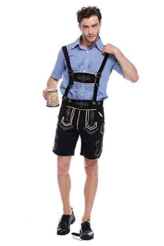 dolass Hombres Oktoberfest Costume Tradicional Cerveza Alemana bavara Guy Lederhose Pantalones Cortos de Cuero