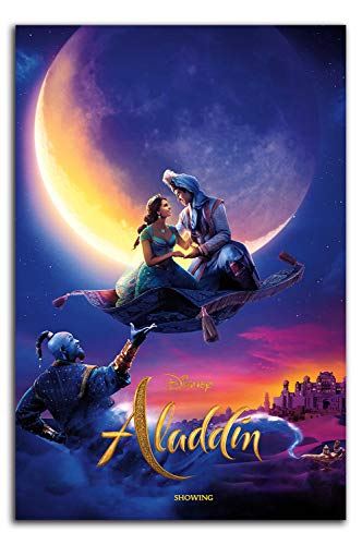 ARYAGO Aladdin 2019 Painting Prints Modern 20' x 30' Movie Genie Will Smith & Jasmine Wall Art Prints Office Home Decor Artwork, Unframed/Frameable