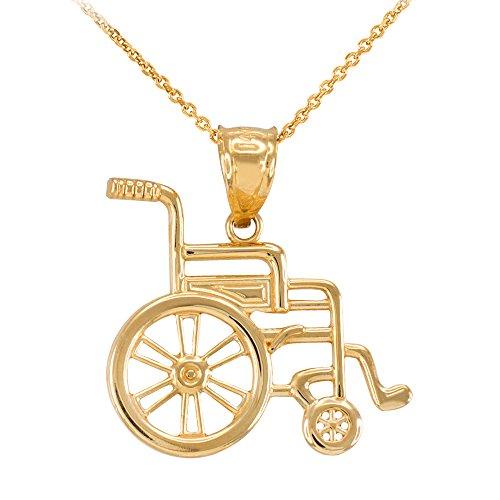 Damen Anhänger Halskette 14 Karat Gelbgold Handikap Invalidität Bewusstsein Rollstuhl (Kommt mit einem 45cm Kette)
