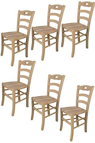 t m c s Tommychairs - 6er Set Stühle Savoie für Küche und Esszimmer, robuste Struktur aus poliertem Buchenholz, unbehandelt und 100% natürlich, Sitzfläche aus poliertem Holz