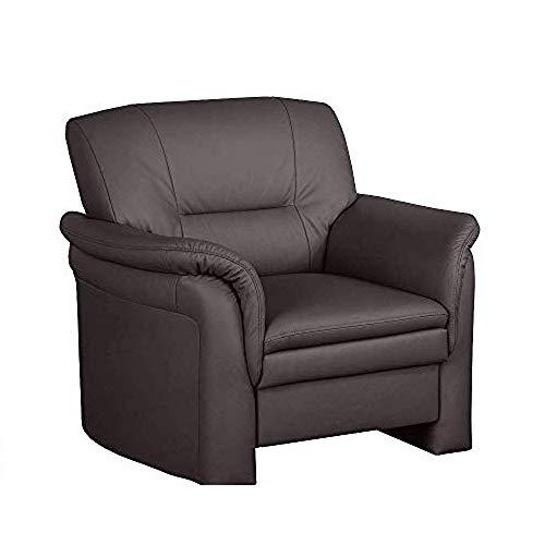 Cavadore Ledersessel Cassada mit Federkern / Gepolsterter Sessel in Echtleder mit Federkernpolsterung und Wellenunterfederung / Größe: 102 x 90 x 90 cm (BxHxT), Bezug in 100 % Echtleder / Farbe: Mocca (dunkelbraun)