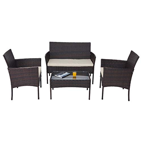 VONLUCE Set Tavolo e Sedie da Giardino in Rattan Arredo Esterno per Terazzi e Balconi, Set Completo Salotto da Esterno (Set da 4 Pezzi)