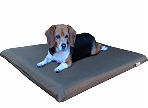 Dogbed4less Gel Cooling Memory Foam Dog Bed for Small to Medium Pet with Waterproof Internal Cover, Oxford Dark Slate 34X27X3 Inches
