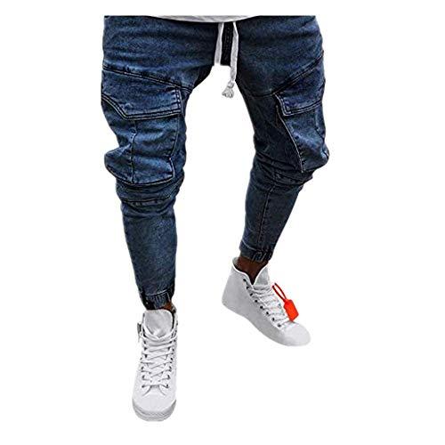 Dasongff broek heren jeans grote maat vrijetijdsbroek mannen broek slim fit gestressed jeans broek trekkingbroek casual trainingsbroek sportbroek vintage broek