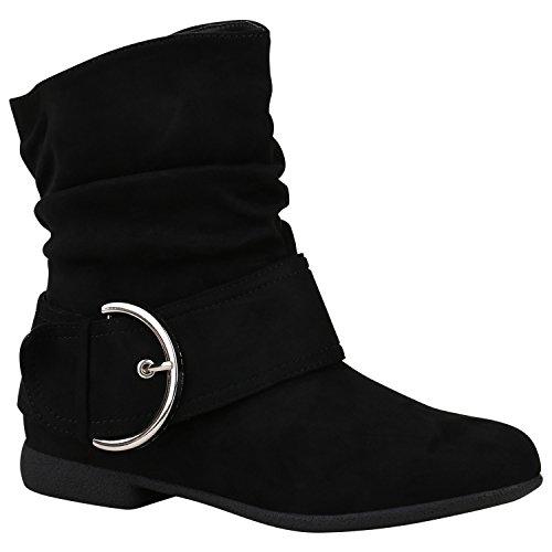 Damen Schuhe Schlupfstiefel Schnallen Stiefeletten Leder-Optik 150474 Schwarz Schnallen 36 Flandell