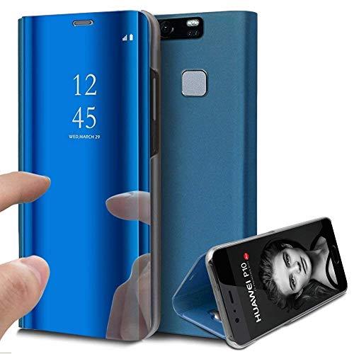 Robinsoni Funda de Cuero para Xiaomi Redmi Note4/Note 4X Funda de Cuero Vista Transparente Cubierta de Espejo de Cubierta Protectora de Cuerpo Completo para Xiaomi Redmi Note4/Note 4X, Azul
