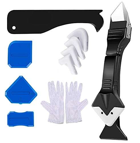 BIYICO Silicone Caulking Tool kit,Caulking Finishing Tools,Sealant Remover Tools,Grout sealer,Glass Glue Angle Scraper Tool,Upgrade 3 in 1 Caulking tools for Kitchen Bathroom Window,Floor,Sink Joint