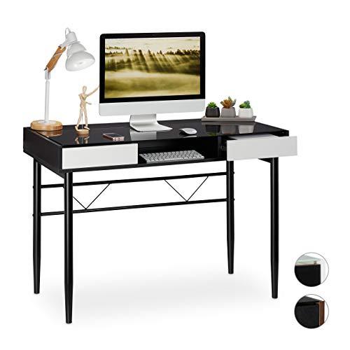 Relaxdays Schreibtisch Glas, Kabeldurchführung, Bürotisch mit Schubladen, PC Glastisch, HBT 78 x 110 x 55 cm, schwarz