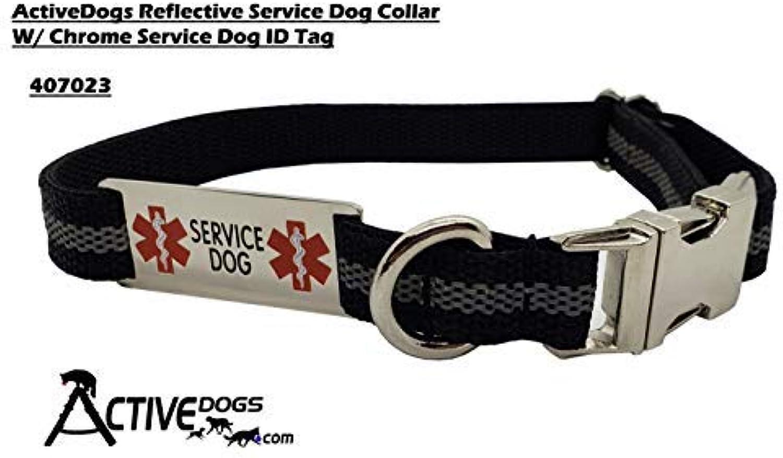 Activedogs Reflective Service Dog Collar W Chrome Service Dog ID Tag (M 14   20 )