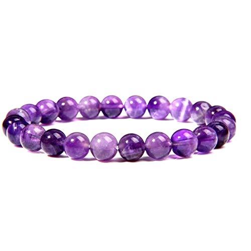 HLH Natural Púrpura Amatistas Agates Calcedonia Cuentas de Piedra Pulsera Joyería para Mujeres Hombres Pulsera de Piedra de Gema púrpura Regalo (Length : 17cm, Metal Color : 5.Amethyst)