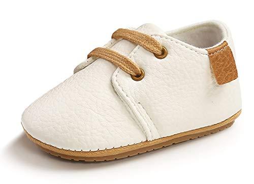 Happy Cherry - Zapatos de bebé para bebé o niña, de piel suave, antideslizantes, zapatillas bajas blanco T2