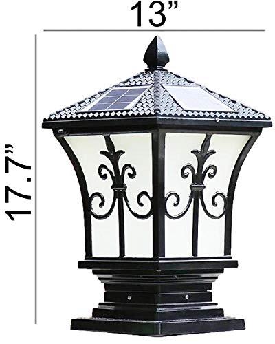 Tall and Extra Large Solar Post Cap Lights Solar Pillar, Diameter: 9.43 Inch; Height: 17.8 Inch. Solar Powered Post Caps. Stylist Solar Post Caps (Antique Black)