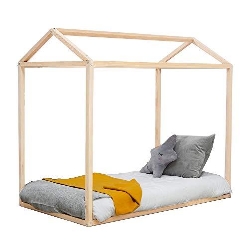 Kit | Cama en forma de casa tamaño cuna estructura de madera de pino Montessori