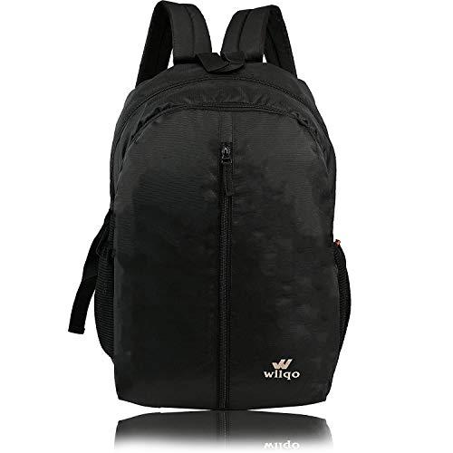WILQO Genuine School & Tuition Casual Backpack Adjustable Shoulder Strap Laptop Bag for Men & Women| Multiuse 21L Bag (Black)