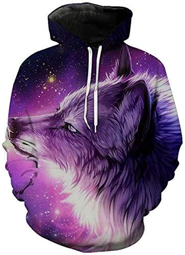 yyqx container 3D Sweatshirt Hoodie Wolf Unisex 3D Printed Hoodies Lange mouwen Streetwear Koppels Pullover met Grote Pocket en Trekkoord Unieke Sweatshirts
