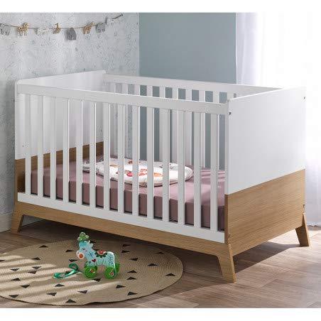 Alfred & Compagnie Lit bébé évolutif INES 70x140 Blanc/chêne