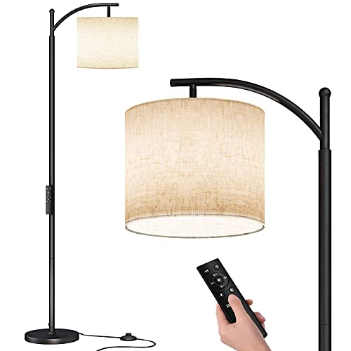SUNMORY Arc Floor Lamp, Modern Floor Lamp with Romote Control and Stepless Dimmable Bulb, Metal Standing Lamps with Hanging Lampshade for Living Room, Bedroom, Office (Black)
