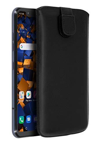 mumbi Echt Ledertasche kompatibel mit LG G8s ThinQ Hülle Leder Tasche Hülle Wallet, schwarz