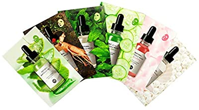 Korean Skin Care Face Mask Sheets - Natural Ampoule Masks set (pack of 6) - Snail, Collagen, Red Ginseng, White Pearl, Aloe, Cucumber, Skin Care k beauty facial mask for Women, Girls