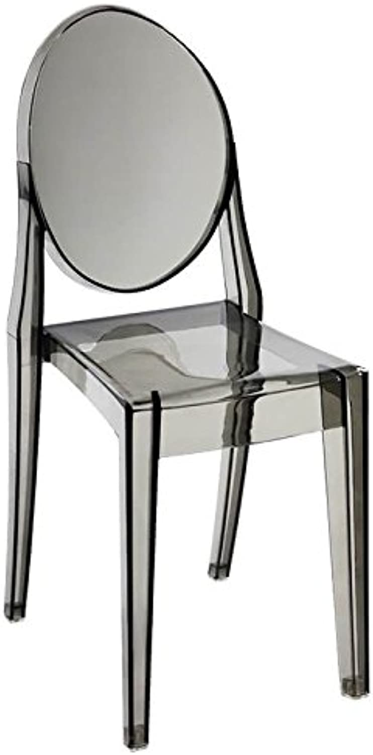 silver Import PC-448-2-SM Poycarbonate Smoke Ghost Side Chair (Set of 2), Single