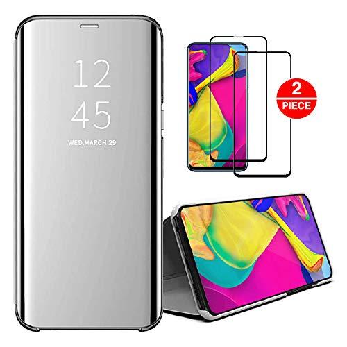SENSBUN Funda compatible con Samsung Galaxy J7 (2017) + 2 unids protector de pantalla de vidrio templado Clear View Cover Flip Case Full Body Protection para Samsung J7 (2017), color plateado