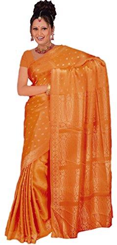 Trendofindia Indischer Bollywood Fashion Sari Stoff Damenkostüm Kleid Orange CA105