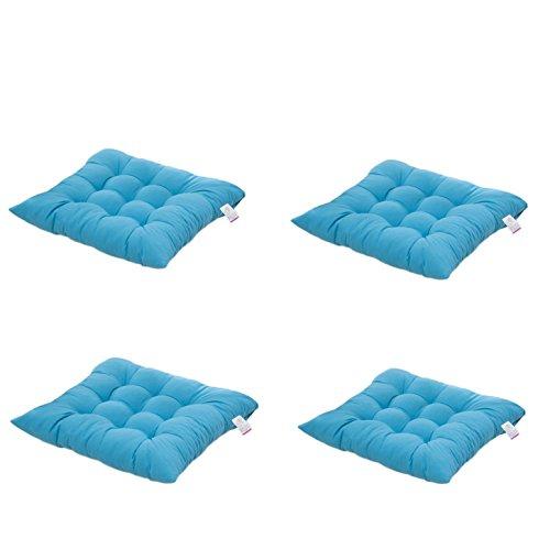 4 cómodos cojines para silla,Worsendy cojines de silla exterior,cojines de terraza,cocina de jardín Cojines de silla de comedor 40x40 cm Crema Cena silla Pad (Azul)