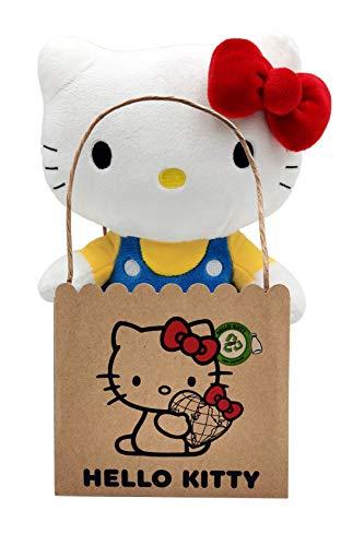 Joy Toy Hello Kitty in peluche ecologico 25 cm in mini shopper di carta, Multicolore