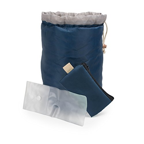 Large Capacity Portable Drawstring Cosmetic Bag for Makeup Storage, Toiletry Organizer, Bathroom Storage, and Carry On Travel - Blue & Gray