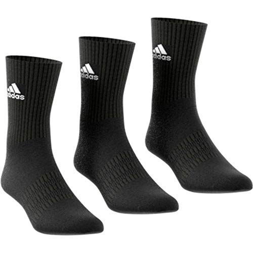 adidas CUSH CRW 3PP Socks, Black/Black/White, KL