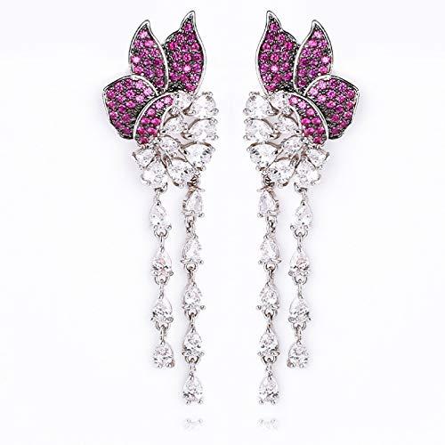 BAJIE Earring Luxury Flower Design Cz Stone Tassel Earrings Sparkling Women'S Fashion Wedding Banquet Brass Earrings Electroplating Jewelry